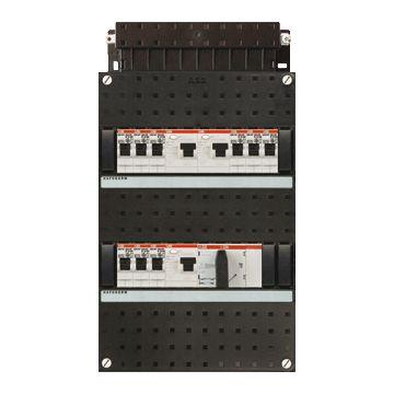 ABB Hafonorm HAD installatiekast, 3 fasen, 9 groepen achter 3 aardlekschakelaars(30mA), met 4 polen hoofdschakelaar, (hxbxd) 330x220x90mm