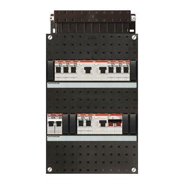ABB Hafonorm HAD installatiekast, 1 fase, 9 groepen achter 3 aardlekschakelaars(30mA), met 1-fase fornuisgroep, met 2 polen hoofdschakelaar, (hxbxd) 330x220x90mm