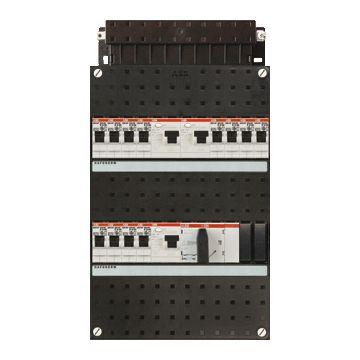 ABB Hafonorm HAD installatiekast, 3 fasen, 12 groepen achter 3 aardlekschakelaars(30mA), met 4 polen hoofdschakelaar, (hxbxd) 330x220x90mm