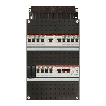 ABB Hafonorm HAD installatiekast, 1 fase, 12 groepen achter 3 aardlekschakelaars(30mA), met 2 polen hoofdschakelaar, (hxbxd) 330x220x90mm
