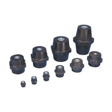Erico isolator ISO TP, poly/glasvezelverst., zwart, ho 25mm, tapgat M6