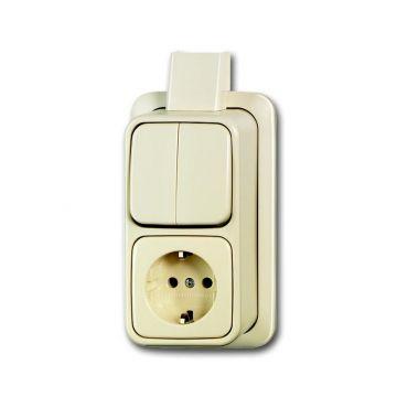 Busch-Jaeger AP Plus combinatie serieschakelaar/wandcontactdoos met randaarde montageplaat, wit
