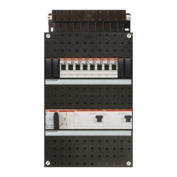 ABB Hafonorm HAD installatiekast, 3 fasen, 8 groepen achter 2 aardlekschakelaars(30mA), met 4 polen hoofdschakelaar, (hxbxd) 330x220x90mm