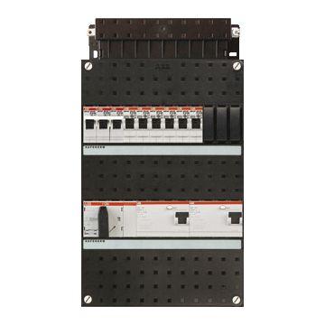 ABB Hafonorm HAD installatiekast, 3 fasen, 7 groepen achter 2 aardlekschakelaars(30mA), met 3-fase fornuisgroep, met 4 polen hoofdschakelaar, (hxbxd) 330x220x90mm