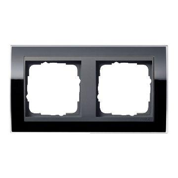 Gira Event Clear 2-voudig kunststof afdekraam H+V, antraciet/zwart