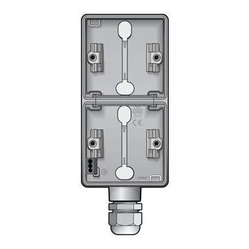 Niko New Hydro dubbele opbouwdoos verticaal met wartelingang M20, lichtgrijs