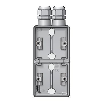 Niko New Hydro dubbele opbouwdoos verticaal met 2x wartelingang M20, lichtgrijs