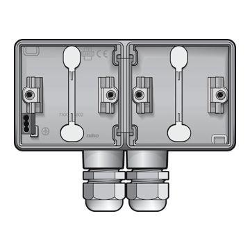 Niko New Hydro dubbele opbouwdoos horizontaal met 2x wartelingang M20, lichtgrijs