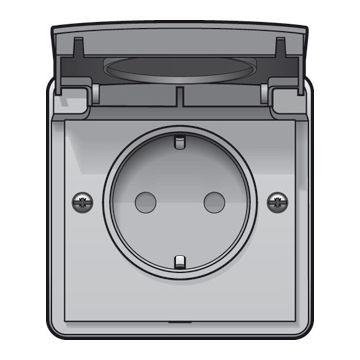 Niko New Hydro opbouwwandcontacdoos 16 A/250 Vac met randaarde kinderveiligheid en met insteekklemmen exclusief opbouwdoos, lichtgrijs