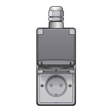 Niko New Hydro dubbele opbouwwandcontactdoos 16 A/250 Vac insteekklemmen met kinderveiligheid en voorbedraad, lichtgrijs
