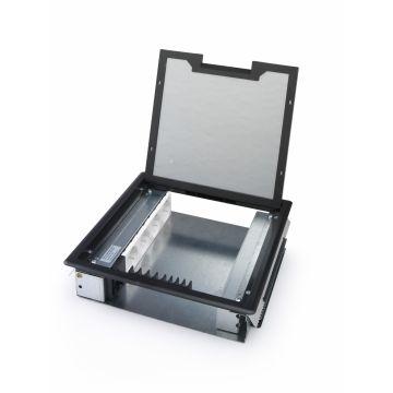 OCS vloercontactdoos Tetra 2.0 62, staal, grijs/zilver, deksel rechthoek