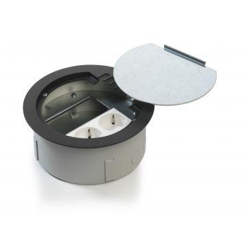 OCS vloercontactdoos Rondo 160, tplast, grijs/zilver, deksel rond