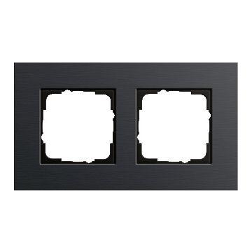 Gira Esprit 2-voudig kunststof afdekraam, aluminium/zwart