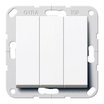 Gira System 55 3-voudig kunststof inbouw schakelaar 3x1-polig, wit (RAL9010)