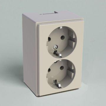 Attema wandcontactdoos ZC25 kunststof, creme/wit/elektrowit, uitvoering ra