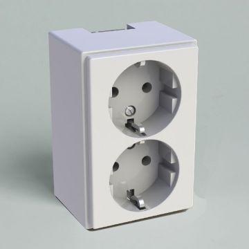 Attema wandcontactdoos ZC25 kunststof, wit, uitvoering ra, 2 eenheden