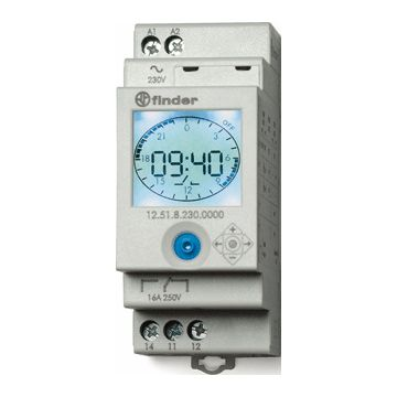 Finder digitale schakelaarklok voor paneelbouw 12 NFC, DRA (DIN-rail ad)