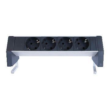 Ratio bureau aansluitingnit opbouw DESKTOP, aluminium/kunststof, zw/aluminium