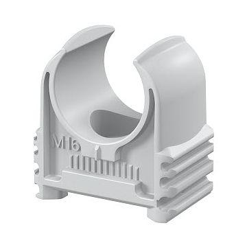 Obo kabelbuisklem Quick, kunststof, grijs, voor buisdiameter 16mm, koppelbaar