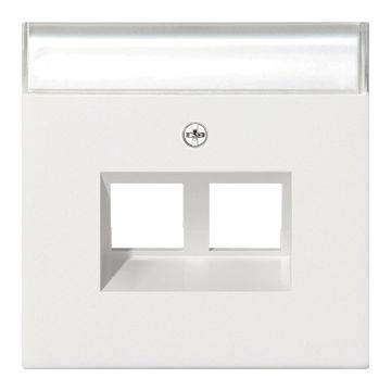 Gira F100 inzetplaat voor draagring met tekstvlak modulair jack, glanzend zuiver, wit