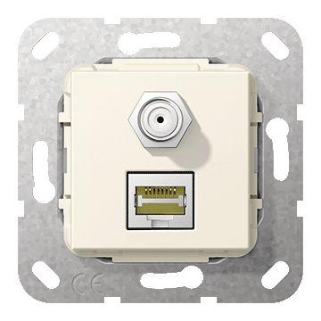 Gira thermoplast basiselement t.b.v. gender changer RJ45 C6A/SATF, bus aansluiting, crèmewit (RAL1013)