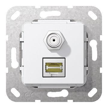 Gira thermoplast basiselement t.b.v. gender changer RJ45 C6A/SATF, bus aansluiting, zuiver, wit (RAL9010)