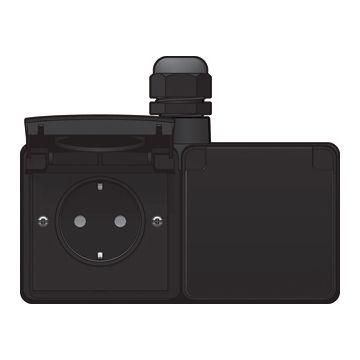 Niko New Hydro dubbele opbouwwandcontactdoos horizontaal 16 A/250 Vac insteekklemmen met kinderveiligheid en voorbedraad, zwart