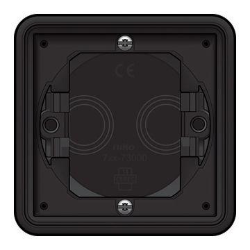 Niko New Hydro enkelvoudig inbouwkader voor opbouwmateriaal, zwart