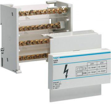 Hager aansluitingklem voor hoofdkabel kabel KJ, 86x88x44mm, 4 polen