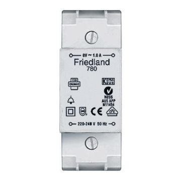 Friedland beltransformator, 91x35x53mm, prim 230V, sec 1 8V