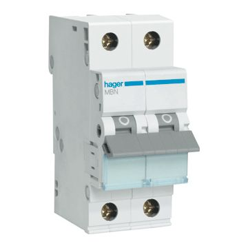 Hager installatieautomaat 1 MBN B-Karakteristiek 1P en N, meeschakelende nul