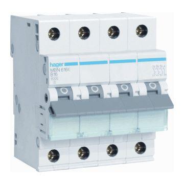 Hager installatieautomaat 3 MBN B-Karakteristiek 3P en N, meeschakelende nul