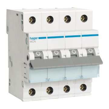 Hager installatieautomaat 3 MCN C-Karakteristiek 3P en N, meeschakelende nul