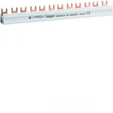 Hager kamrail Quickbusbar, 2mmA², le 210mm, 2 fasen, voor atl apparaten 6