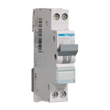 Hager installatieautomaat 1 MJN C-Karakteristiek 1P en N, meeschakelende nul