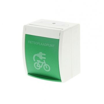 """Busch-Jaeger Ocean IP44 wandcontactdoos met groen klapdeksel met symbool """"E-Bike"""" randaarde aanraakbeveiliging, groen"""
