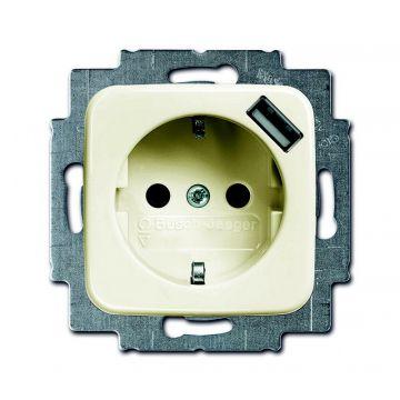 Busch-Jaeger Busch-duro 2000 SI USB-wandcontactdoos met randaarde, crèmewit