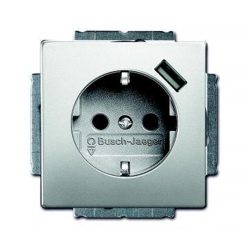 Busch-Jaeger Pure Stainless Steel USB-wandcontactdoos met randaarde aanraakbeveiliging, edelstaal