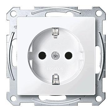 Schneider Electric Merten M-Plan wandcontactdoos, randaarde, enkelvoudig kunststof RAL9010, wit