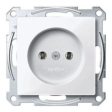 Schneider Electric Merten M-Plan wandcontactdoos, zonder randaarde, enkelvoudig kunststof RAL9010, wit