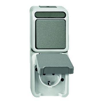 Schneider Electric Merten Aquastar combinatie schakelaar/wandcontactdoos randaarde kunststof, grijs,