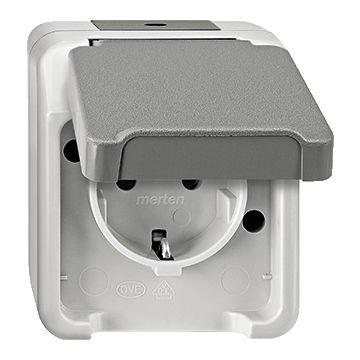 Schneider Electric Merten Aquastar wandcontactdoos randaarde, enkelvoudig kunststof, grijs