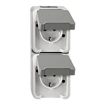 Schneider Electric Merten Aquastar wandcontactdoos randaarde, tweevoudig kunststof RAL7030 grijs