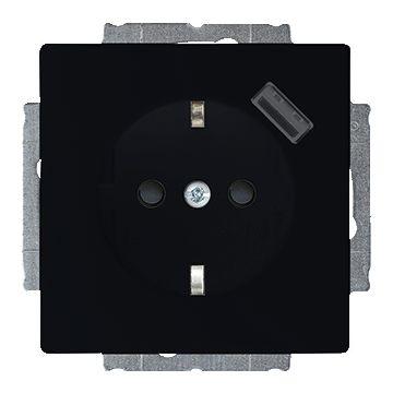 Busch-Jaeger Future Linear USB-wandcontactdoos met randaarde en aanraakbeveiliging, matzwart