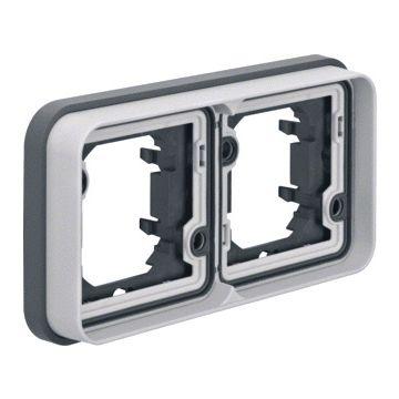 Hager berker W.1 2-voudig kunststof afdekraam voor inbouwmontage H hxbxd=83x154x23mm, grijs RAL7011