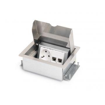 OCS vloercontactdoos Servicebox, RVS (RVS), grijs/zilver, deksel rechthoek