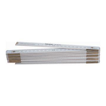 Haupa duimstok, hout, (lxb) 2mx16mm, 10 delen, koperbeslag