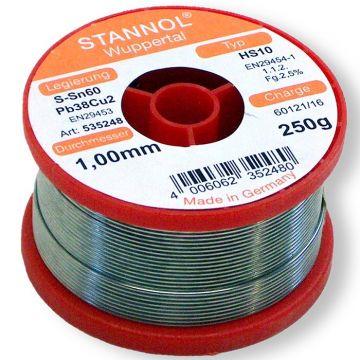 Stannol zachtsoldeer draad 1mm, tin-lood. 60-40, diam 1mm, met harskern