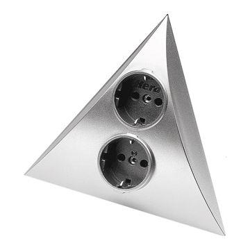 Hera Luxor ST/S wandcontactdoos randaarde, 2-voudig kunststof, chroom