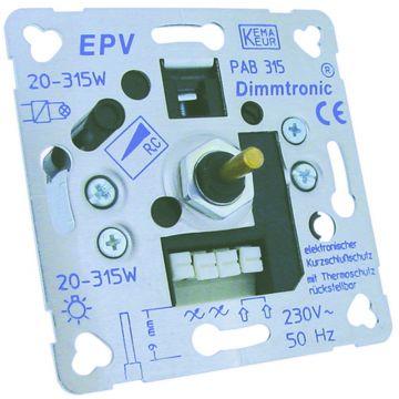 Klemko dimmer prim, metaal, aluminium, basiselement, draai/drukknop